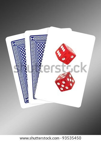A conceptual gambling image with assorted gambling equipment - stock photo