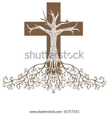 a conceptual illustration of a firmly rooted faith - stock photo