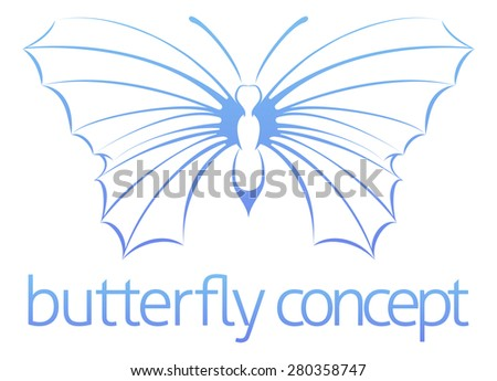A conceptual illustration of a stylised abstract butterfly  - stock photo