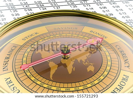A  conceptual image for financial and business genre. A compass that can show you the money or the profit. - stock photo