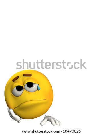 A conceptual image of a cartoon face that is very sad. - stock photo