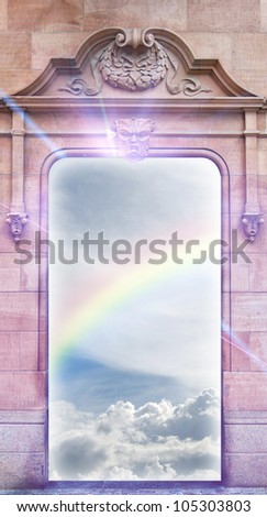 A conceptual image of a view into heaven from an ornate doorframe. - stock photo
