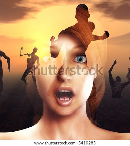 A conceptual image of a women in a state of fear or shock or pain as zombies come for her. - stock photo
