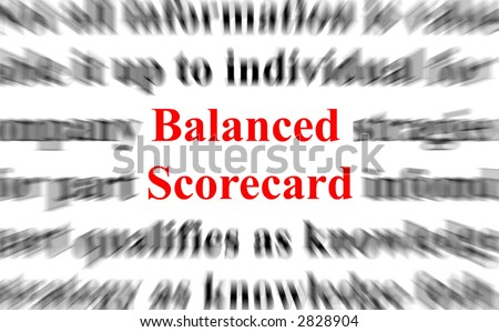 a conceptual image with the focus on the balanced scorecard - stock photo