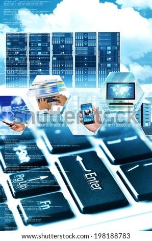 A conceptual picture of worldwide mobile business using internet technology - stock photo