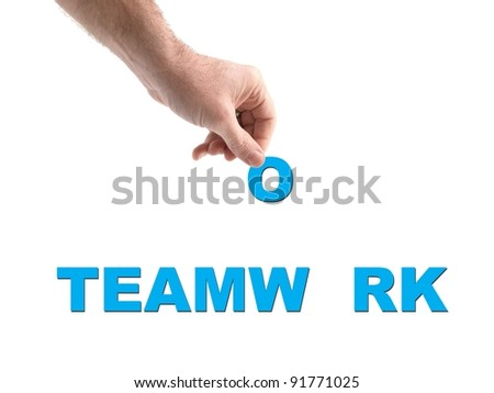 A conceptual teamwork image isolated on white - stock photo
