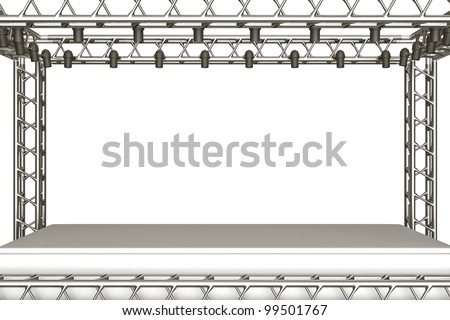 a concert stage with metal frame and spots lights - stock photo