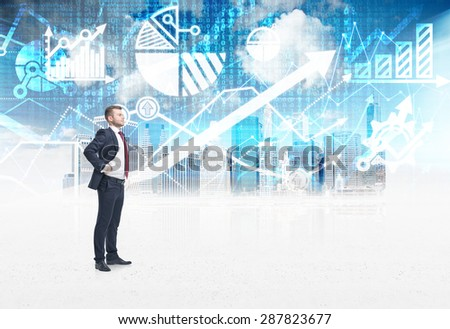A confident trader is standing in the digital space over the New York city sketch. The concept of the capital market transactions and forex trading. - stock photo