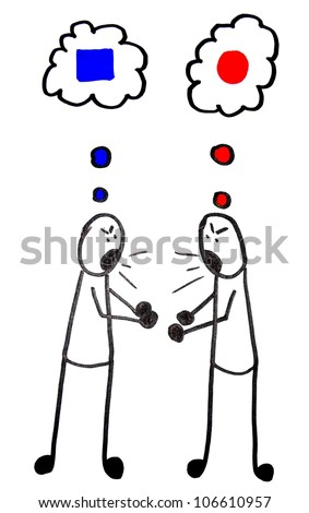 A conflict between two stick men arguing, coming from a difference of opinion - stock photo