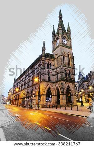 A constructed drawing of the Bradford Wool Exchange, West Yorkshire, UK  - stock photo