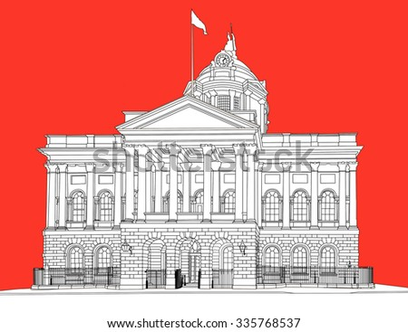 A constructed line drawing of Liverpool Town Hall, England, UK - stock photo