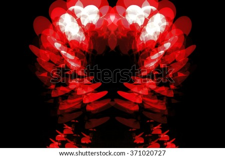 A constructed red digital illustration of multiple exposure of Marseilles street lights, France - stock photo