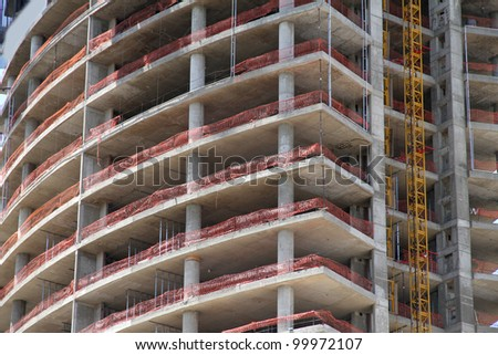 A construction site of modern Architecture in Buenos Aires, Argentina, South america. - stock photo