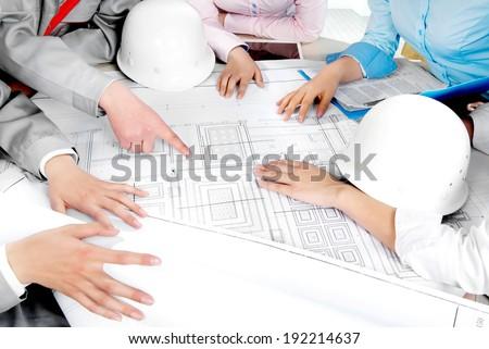 A construction team - stock photo