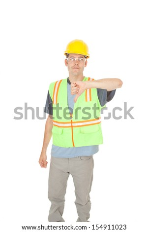 A construction worker gives you the thumbs down sign, signaling that something is wrong. Isolated on white. - stock photo