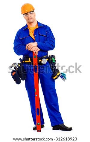 A construction worker working with building level. Job, occupation. Isolated over white.  - stock photo