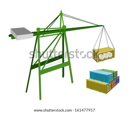 A Container Crane Lifting A Freight Container from Stack To A Ship, Container Crane Is A Heavy Machine for Loading and Unloading Container from Container Ship.  - stock photo