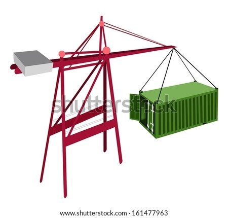 A Container Crane Lifting An Open Green Freight Container from Stack To A Ship, Container Crane Is A Heavy Machine for Loading and Unloading Container from Container Ship.  - stock photo