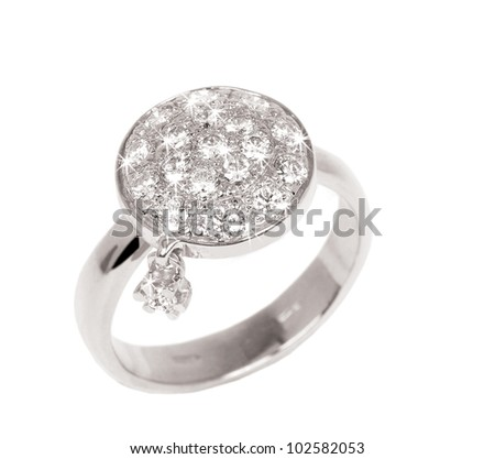A contemporary diamond ring isolated on white background. Diamond Ring wedding gift isolated - stock photo