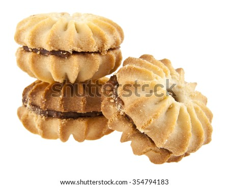 a cookie is isolated on a white background - stock photo