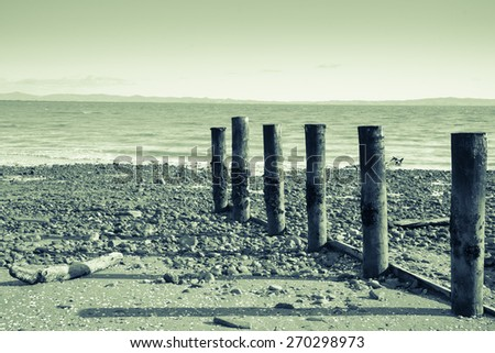 A cool overcast day at Tararu Beach, Thames, Coromandel., old jetty piles at low tide vintage or retro style image split toned. - stock photo