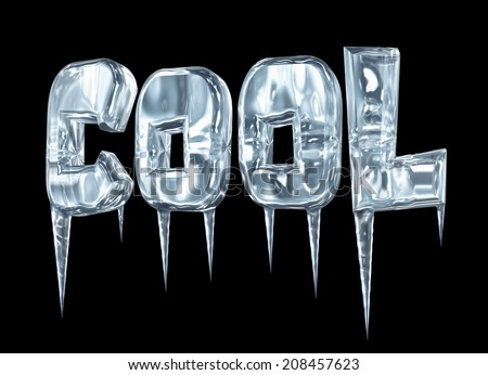 A COOL sign with icicles isolated on black - stock photo