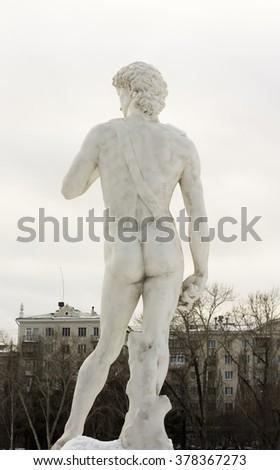 a copy of Michelangelo's David - stock photo