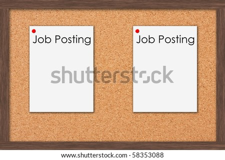 A cork bulletin board with job postings and a wooden frame, Job Postings - stock photo