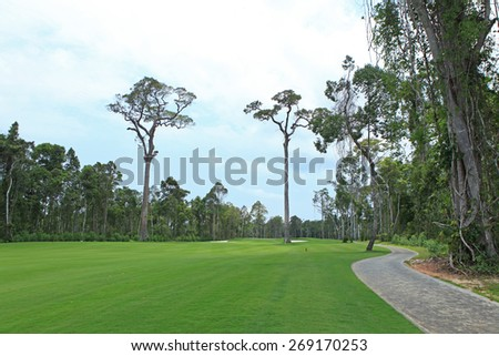 A corner of a golf field in Phu Quoc island - stock photo