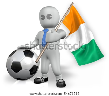 A Cote d Ivoire football fan with a ball and a flag - stock photo