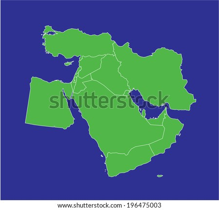 A country map of the middle east in green and blue - stock photo