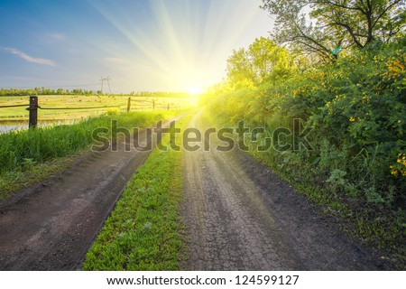 A country road passing trough green spring meadows - stock photo
