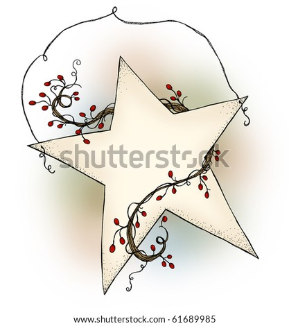 A country style hanging star with red berry garland with blank area for ad, poem or personal inscription - stock photo