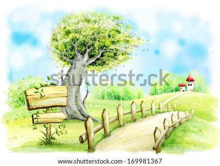 A countryside path beside a lone tree, leading to the home in the distance - stock photo