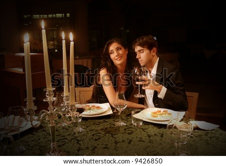 a couple at restaurant - stock photo