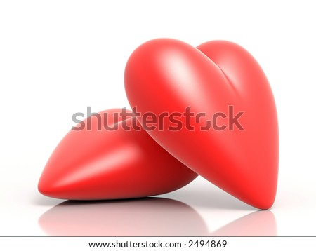 A couple of 3D rendered hearts illustration - stock photo