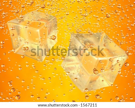 A couple of ice cubes swimming in orange drink. Photorealistic 3D rendering. - stock photo