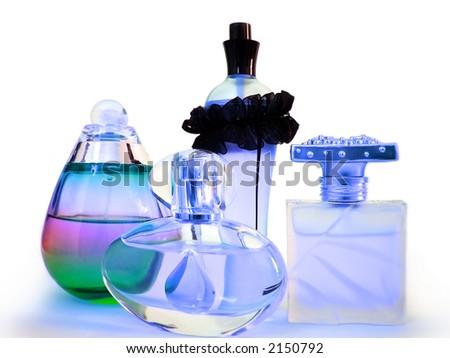 A couple of perfume bottles. - stock photo