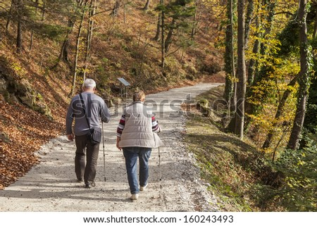 A couple of senior citizens walking on the path through the woods - stock photo