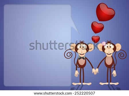 a couple of two Monkeys in love - stock photo