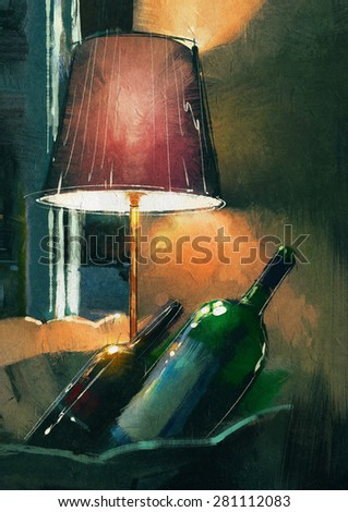 A couple of wine bottle and lamp glowing orange in the night - stock photo