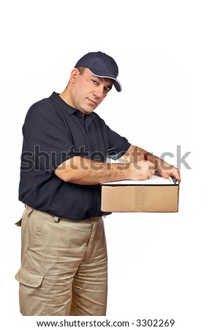 A courier holding the box, writing on white background - stock photo