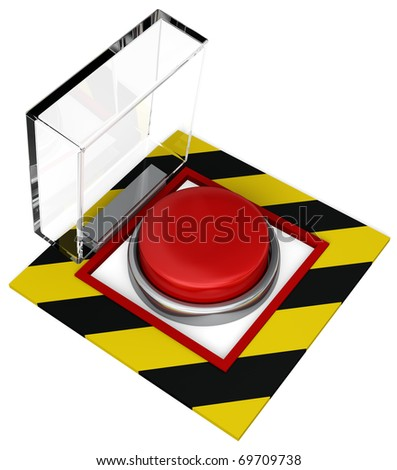 A covered emergency button with plastic cover. Isolated on white - stock photo
