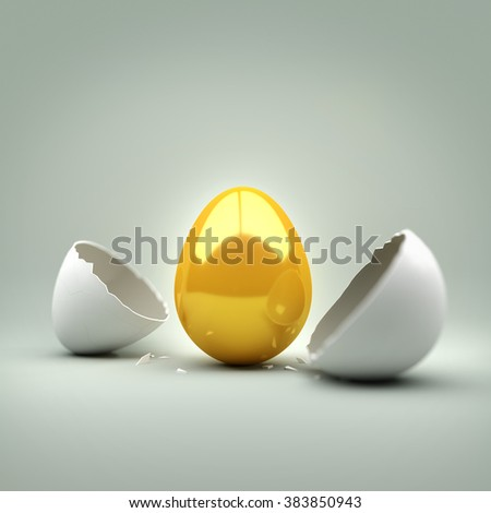 A cracked egg revealing a new golden egg. 3D Illustration - stock photo