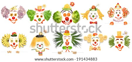 A creative set of food concepts of smiling clowns from vegetables and fruits. - stock photo