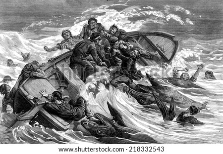 A crew devours by sharks, vintage engraved illustration. Journal des Voyages, Travel Journal, (1879-80). - stock photo