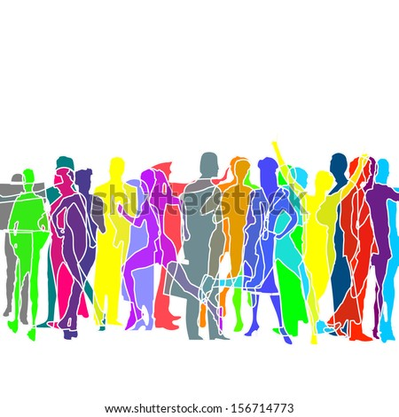 A crowd of colored people, illustration - stock photo