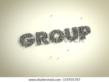 A crowd of people forming the word 'Group'. A conceptual play on social groups, media and networks. - stock photo