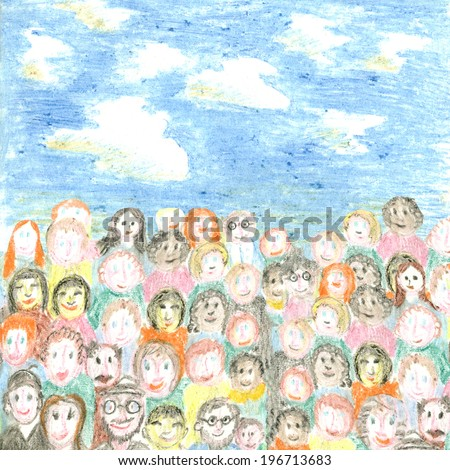 A crowd of people, freehand drawing, drawn with crayons - stock photo