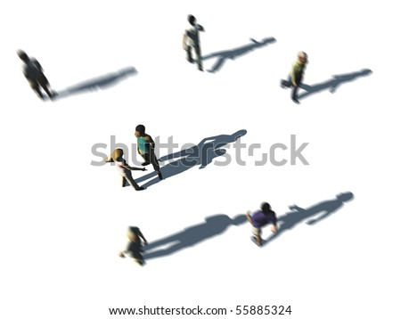 a crowd of people in top-view on white - stock photo